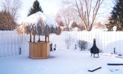 Cypress Tiki Hut in the Snow! Easy Maintenance - Just keep it out all year round!