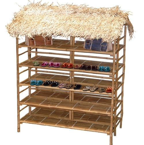 Bamboo Display Rack with Thatch Roof Retail